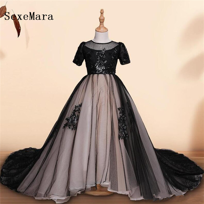 Real Pictures High Quality Black Lace Flower Girls Dresses for Wedding Short Sleeve O Neck Girls Birthday Dress Pageant Gown classic short sleeve round neck bodycon black and white plaid dress for women
