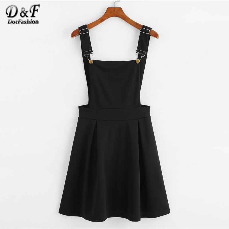 7079403853c1 Dotfashion Button Pleated Zip Up Back Pinafore Dress 2019 Spring Fall  Straps Sleeveless Dress Women Weekend Casual Short Dress