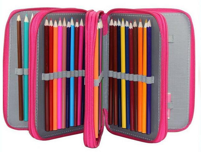 Waterproof 72 Holders 4 Layers Canvas School Pencil Cases, Large Solid Color Large Capacity Colored Pens Bags Box Stationery 2 3 4 layers high quality large capacity canvas pencil case drawing pens pencil bag portable pencil box school penalties 04856
