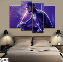 Hot Sales Without Frame 4 Panels Picture Marvel Black Panther Film Canvas Print Painting Artwork Wall Wholesale