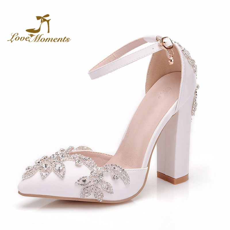 Chunky High Heel Wedding Shoes Women Bride Pointed Toe