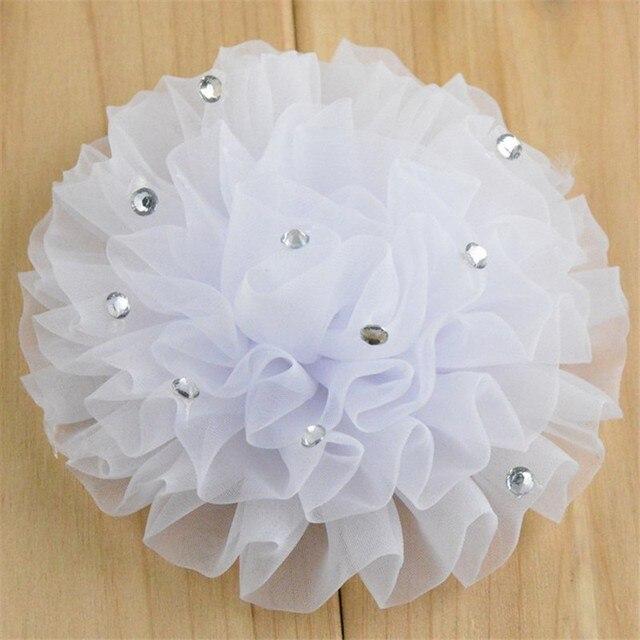 200 יח\חבילה 12 צבע U להרים 3.5 inch שיפון אורגנזה Ruched פאף פרחים עם ריינסטון בגד פרח חתונה קישוט TH24
