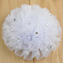 200pcs/lot 12 Color U Pick 3.5 Inch Chiffon Organza Ruched Puff Flowers With Rhinestone Garment Flower Wedding Decoration TH24