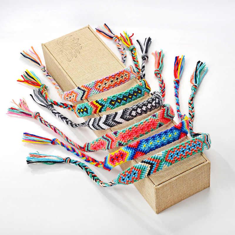 جديد حار البوهيمي الموضوع سوار الرجعية اليدوية بوهو متعدد الألوان سلسلة الحبل المنسوجة مضفر الهبي الصداقة أساور النساء الرجال