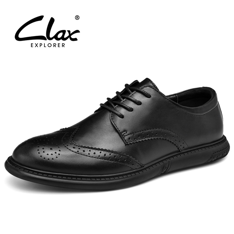 CLAX Man's Shoes Genuine Leather Brogue Dress Shoe Male Leather Footwear Designer Mens Formal Shoe
