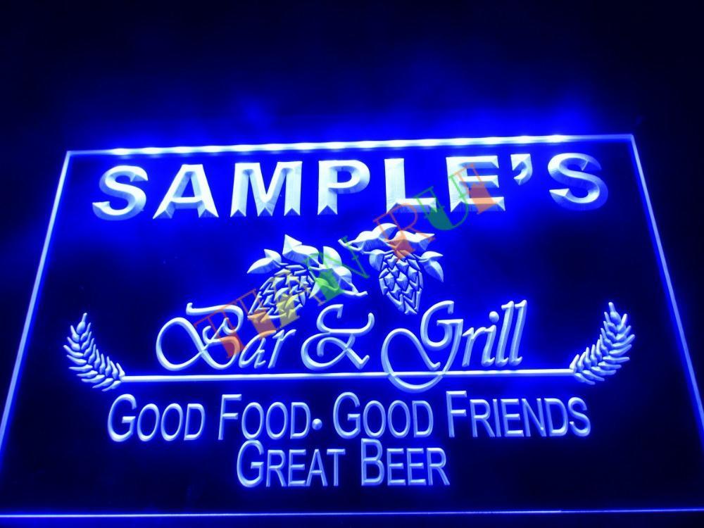 DZ019 Bar & Grill Beer Wine LED Neon Light Sign hang sign