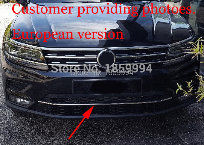 Para 2016 2017 2018 VW Tiguan mk2 Frontal Inferior Bumper corrida grill guarnição Da Tampa de Moldagem