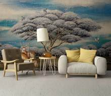 custom 3 d wallpaper for walls Oil painting, big tree, animal 3d wallpaper abstract living room bedroom murals new decor home(China)