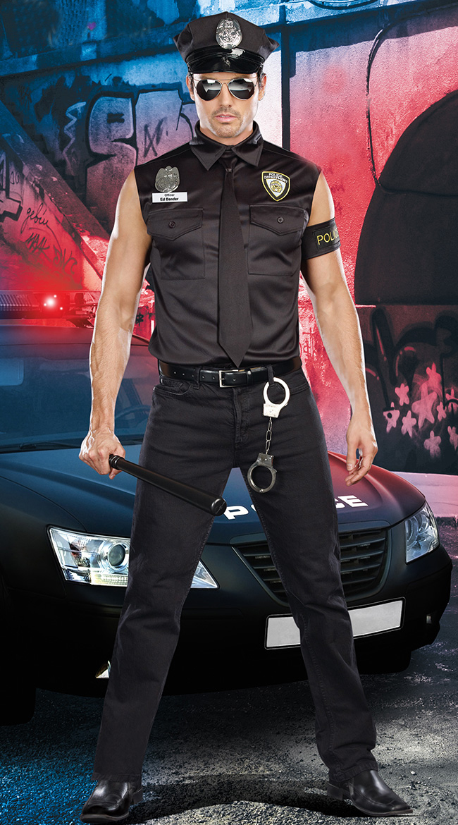 Free Shipping Sexy Police Costume For Men Cool Men Cosplay Police Costumes Halloween Cop Officer Ed Banger Costume 4F1629