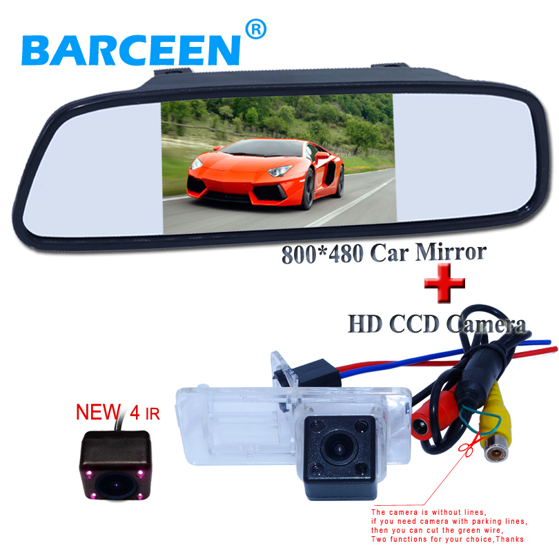 5 car mirror monitor ir lights car rearview camera 2 in 1 use for Renault Fluence