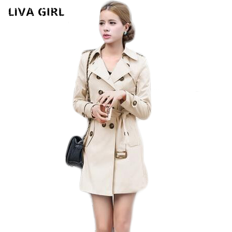 1PC   Trench   Coat For Women Double Breasted Slim Fit Long Spring Coat Casaco Feminino Abrigos Mujer Autumn Outerwear