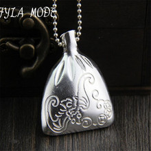 Fyla Mode Fine Jewelry Luxury Thai Silver Carved Money Bag Necklaces Pendant S925 Silver Real Pendant Manufacturer Directly Sale
