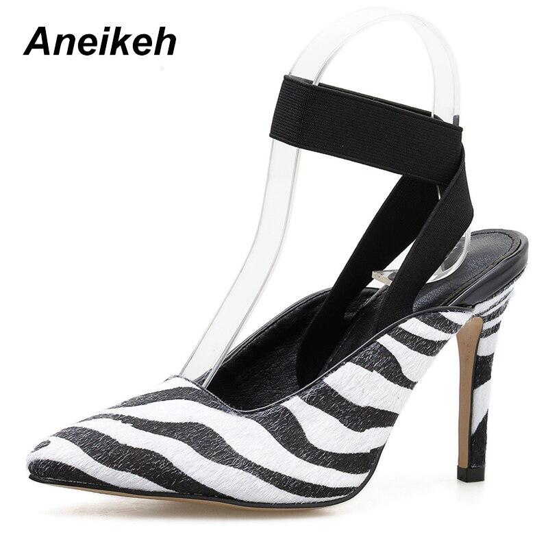 Aneikeh Pumps Women Shoes Spring Pointed-Toe High-Heels Office Zebra Horsehair Autumn