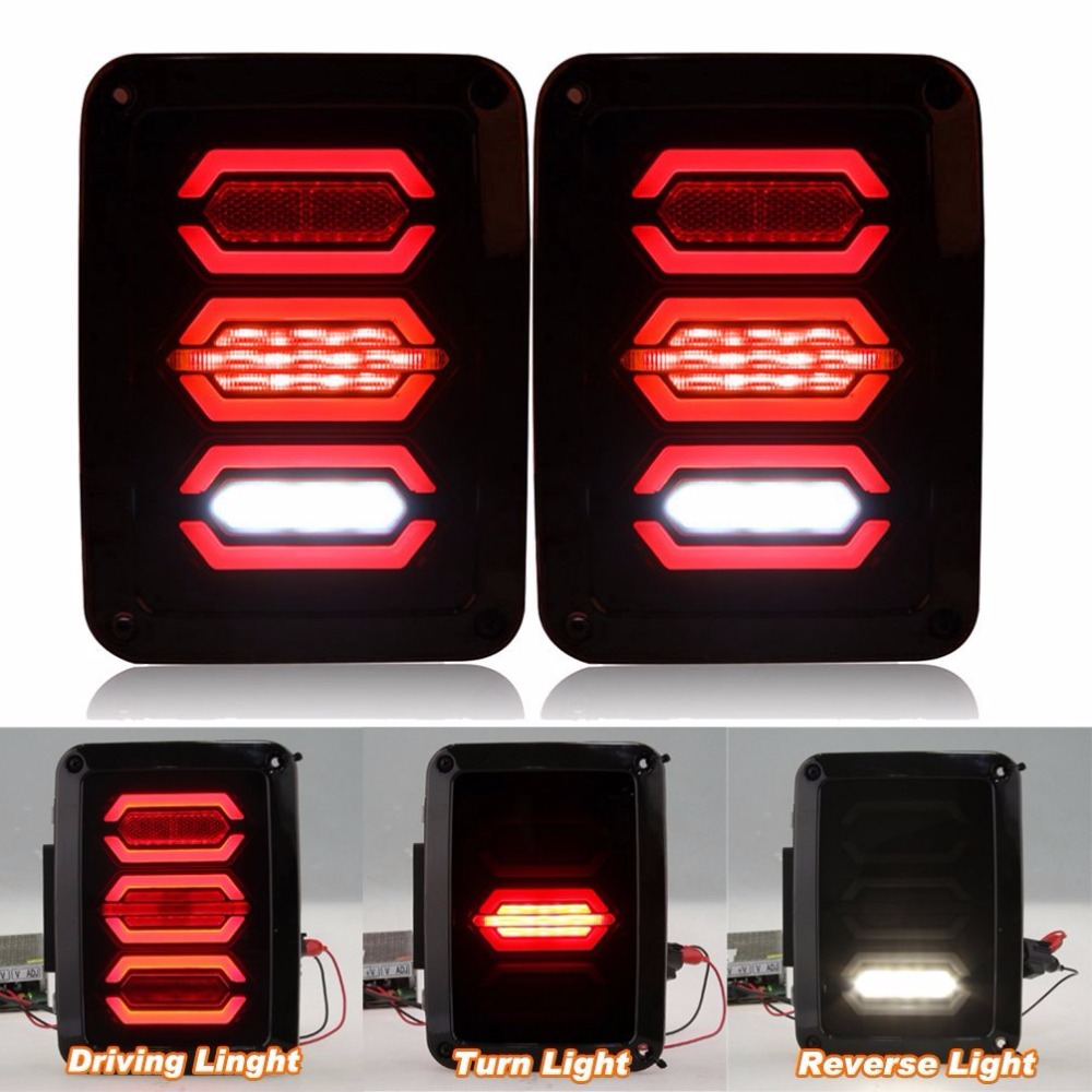 LED Rear Tail Light For Jeep wrangler JK 07-16 Tail Lights Brake Reverse Light Rear Back Up Turn Singal Lamp Driving Lights