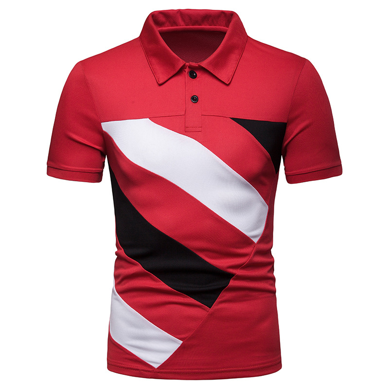 2019 Men's   Polo   Patchwork Casual Short Sleeve   Polo   Shirt Men Fashion Cotton   Polos   Para Hombre