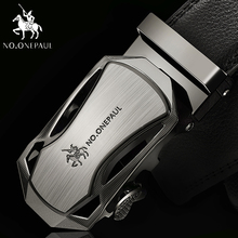 NO ONEPAUL Luxury brand Male Genuine Leather Strap Belts For Men Top Quality Belt Automatic Buckle black Belts Cummerbunds cheap Adult Cowskin Metal 3 5cm Casual Solid 5 5cm ZDC01 4 5cm