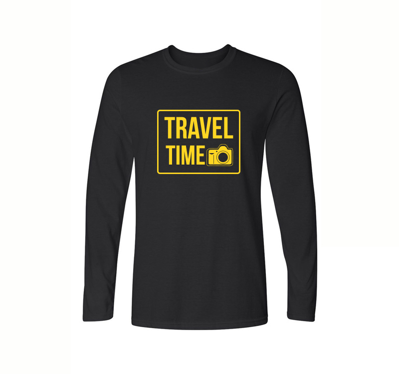 Travel Time Funny Camera Print Mens Cotton T Shirt 2017 Autumn Casual Full Sleeve O-Neck Tops For Men Costumes Clothing