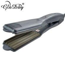 """Gladay Profissional שיער גל ברזל 1.75 """"אינץ גלי קרלינג איירונס עבור סלון יופי שיער מלחץ ברזל Crimping סגנונות"""