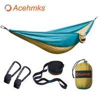 Acehmks Camping Hammock Portable Folding Ultralight Parachute Nylon Hammock Garden Swing With 2pc Tree Straps 106''X55''