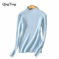 QingTeng 2017 New Autumn And Winter Sweaters Women Turtleneck Slim Sweater Semi High Collar Cashmere Sweater