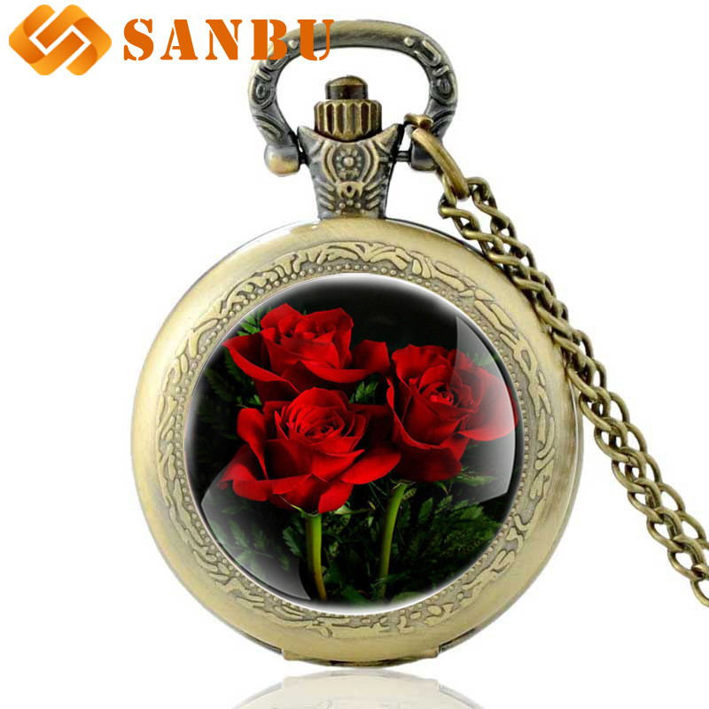 Vintage Roses Quartz Pocket Watch Bronze Men Women Retro Necklace Jewelry