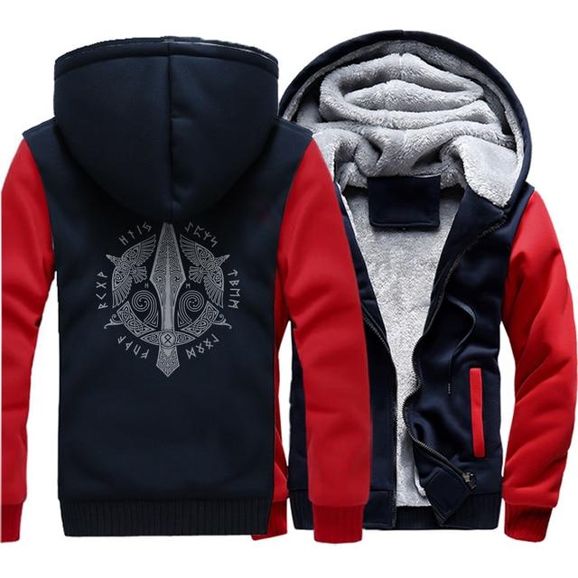 Men long Sleeve wool liner Clothes Odin Viking hooded jackets zipper thicken warm sweatshirts Vikings Odin man's tracksuits 2018 4
