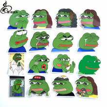 16Pcs/Lot Spoof Pepe Sad Frog Funny Sticker For suitcase skateboard notebook motorcycle waterproof PVC Graffiti car decals toys(China)