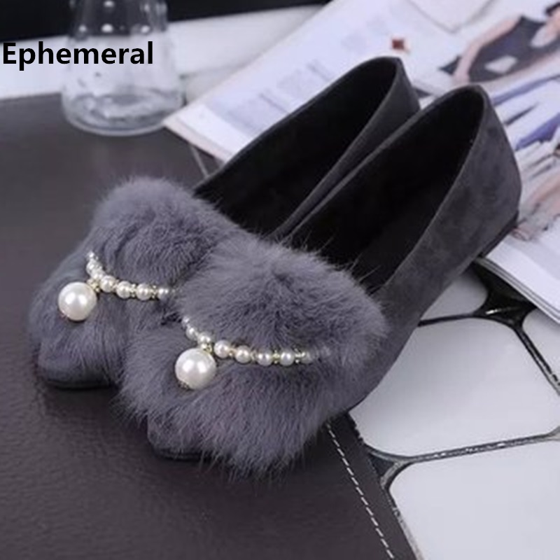 Ladies Flats Winter Fur Shoes Round toe Flock Short Plush Slip-On Leopard Black Grey Crystal Shoes Big Size 9 35  Promotion 2018 uexia women winter warm fur plush loafers fashion round toe slip on ladies casual flats shoes women s bow tie ladies footwear