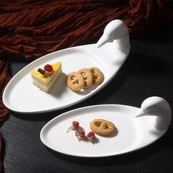 Cartoon kaczka deser tacy biały zestaw obiadowy taca na przekąski żywności płyty kaczka jedzenie płyty ptak projekt talerzyk dla dzieci