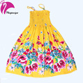 New Arrival 2016 Baby Girls Beach Dress Summer Bohemian Style Beading Necklace Sleeveless Flower Beach Dress For Girs Clothes
