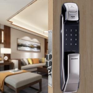 Image 2 - SAMSUNG Fingerprint PUSH PULL Digital Door Lock With WIFI Bluetooth App SHS DP728 English Version Big Mortise AML320
