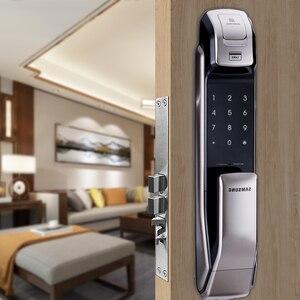 Image 2 - SAMSUNG czytnik linii papilarnych PUSH PULL cyfrowy zamek do drzwi z aplikacją WIFI Bluetooth SHS DP728 angielska wersja Big wpuszczany AML320
