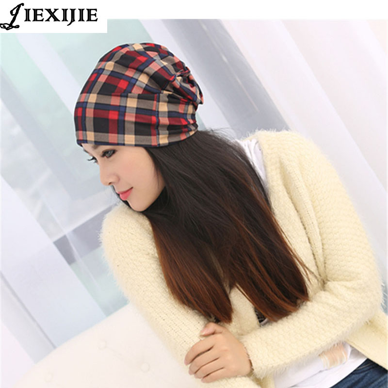 Multi-function womens hats Han edition three female qiu dong grid with hollow sets ladies fashion confined turban hat wholesale