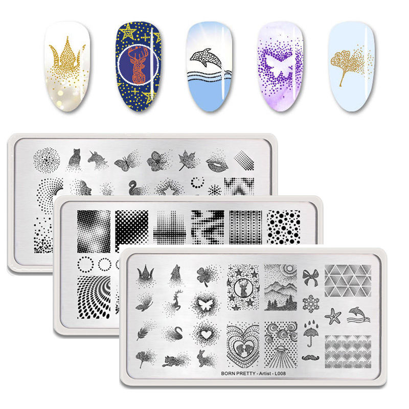 Geometric Reverse Stamping Nail Art Born Pretty Review: BORN PRETTY Nail Stamping Plates Rectangle Geometry