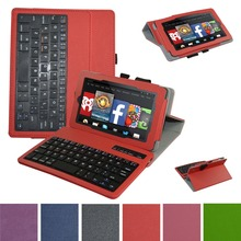New Removable Bluetooth Keyboard Leather Case Cover For 7 Amazon Fire HD 7 2015 Tablet