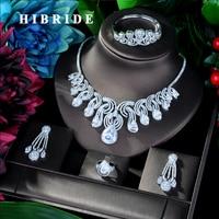 HIBRIDE Luxury Big 4pcs Jewelry Set With AAA Cubic Zirconia Party Wedding Saudi Arabic Dubai jewelry Set for Women Fashion N 48