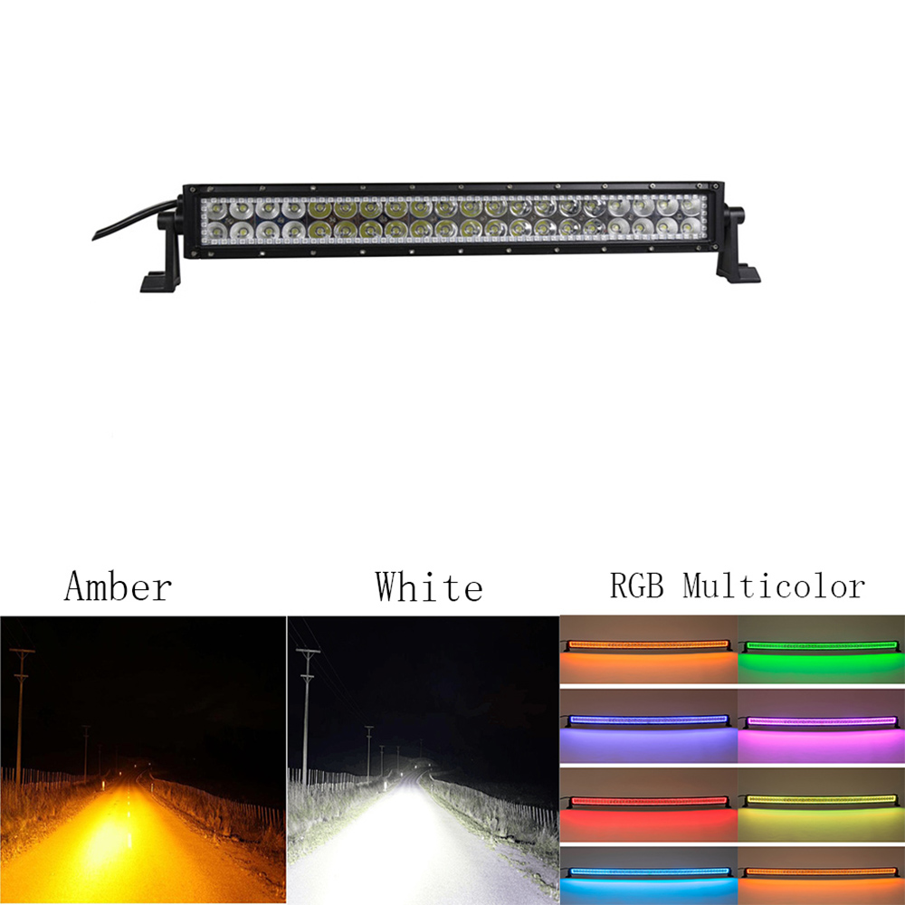 Nicoko 120w 20/22 straight Amber White LED light bar Multicolor RGB halo for Tractor Boat OffRoad 4WD 4x4 Truck SUV ATV 12V 24v