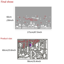 Christmas Snowflake Town PVC Wall Stickers Vinyl Removable Christmas Home Decor For Living Room Decoration DIY Window Stickers
