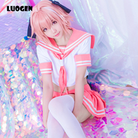 New Arrival Anime Black Knight Astolfo Cosplay Sailor Uniform Costume Cute Pink Top Skirt Cosplay Costume