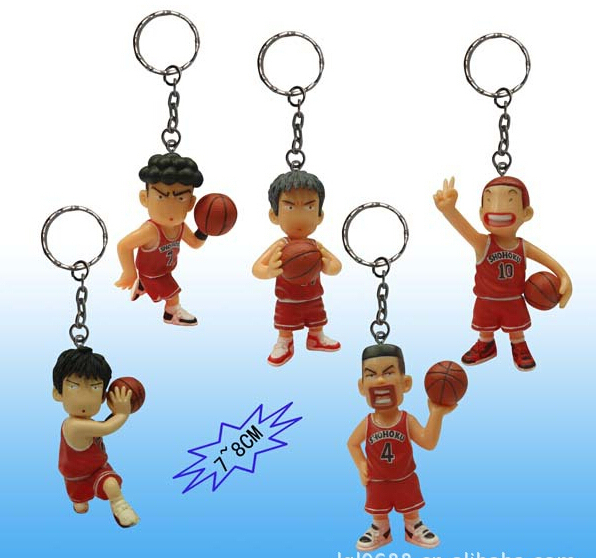 5pcs/set 8cm Keychain Slam Dunk Sakuragi Hanamichi Action Figures PVC brinquedos Collection Figures toys for christmas gift