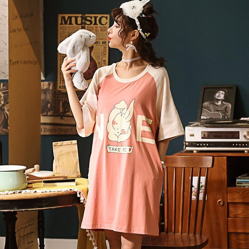 Summer Knitted Cotton O-neck Women Short Cartoon Sleepwear Girl   Nightgowns   Nightwear Nightdress Sleepwear Home   Sleepshirts   11318