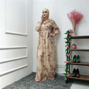 Image 1 - הרמדאן נצנצים תחרה העבאיה דובאי טורקיה האיסלאם המוסלמי חיג אב שמלת קפטן Abayas לנשים Jilbab קפטן בגדים קטאר Elbise Robe