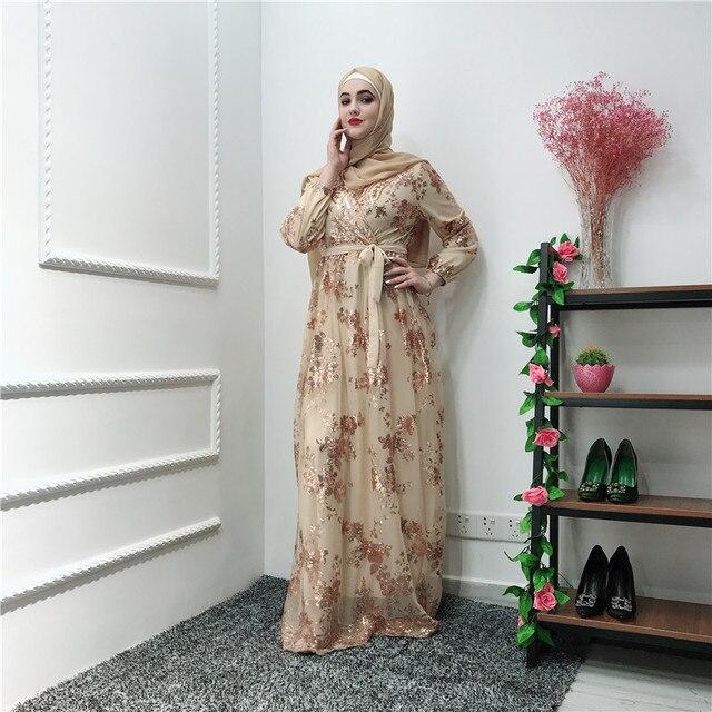 הרמדאן נצנצים תחרה העבאיה דובאי טורקיה האיסלאם המוסלמי חיג אב שמלת קפטן Abayas לנשים Jilbab קפטן בגדים קטאר Elbise Robe