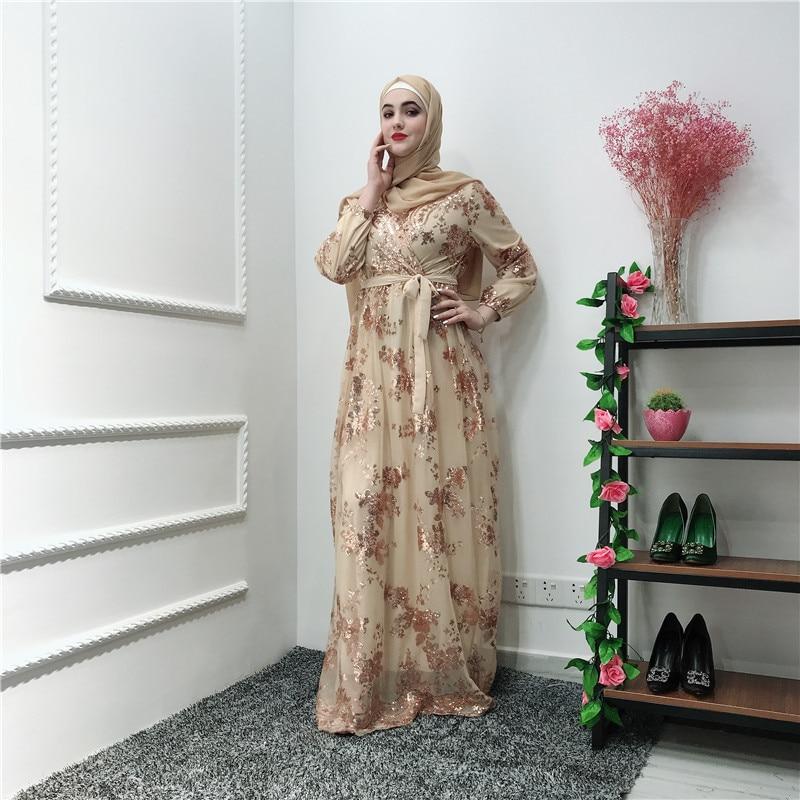 Ramadan Sequin Lace Abaya Dubai Turkey Islam Muslim Hijab Dress Kaftan Abayas For Women Jilbab Caftan Clothing Qatar Elbise Robe