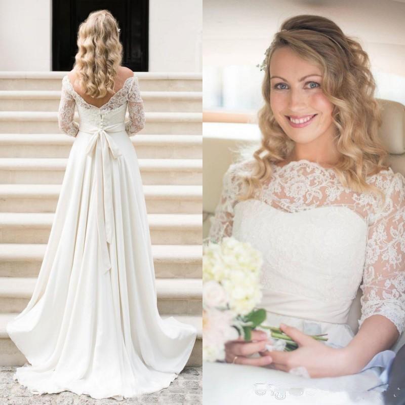Modest Wedding Dresses 2019: Modest 2019 Boho Beach Wedding Dresses A Line Three