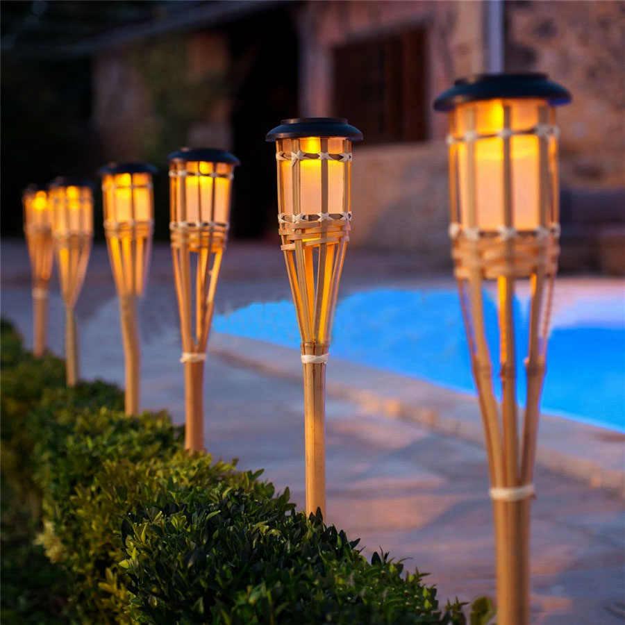 Bamboo Solar Garden Torch Light Patio