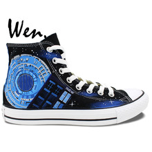 Wen Hand Painted Canvas Shoes Design Custom Pandorica Tardis Doctor Who High Top Canvas Sneakers for Men Women's Gifts