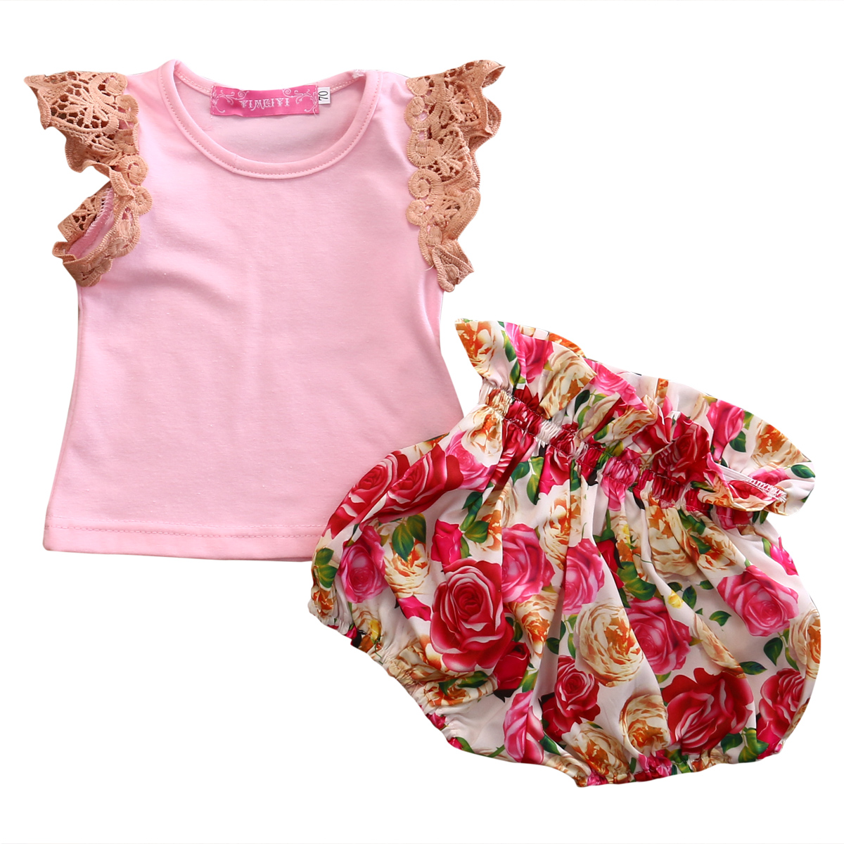 0-3Y Toddler Baby Girls Clothing Set 2017 Summer Lace T-shirt Tops+Floral Shorts Bottom Pants 2PCS Outfits Children Clothes Cute baby set girls stripe i woke up like this toddler shirt pants 2pcs outfits set