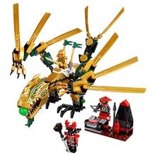 צעצועים לילדים בלה 9793 עצמי נעילת לבנים תואם עם Lepining Ninjagoed את דרקון זהב 70503 בניין בלוק סט