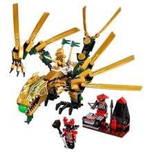 Juguetes para niños Bela 9793 ladrillos autoblocantes compatibles con Lepining Ninjagoed el dragón dorado 70503 conjunto de bloques de construcción